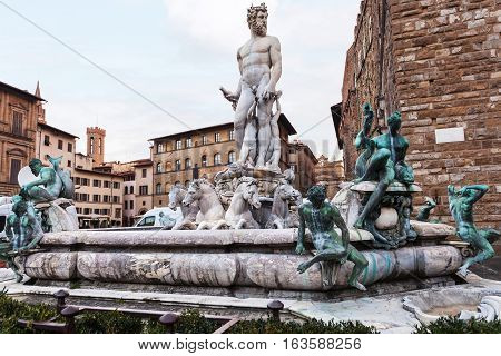 View Of Fountain Of Neptune In Morning