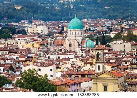 Skyline Of Florence City With Great Synagogue