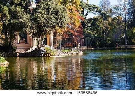 Pond With Temple In Villa Borghese Public Gardens