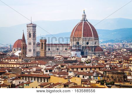 Above View Of Duomo In Florence City