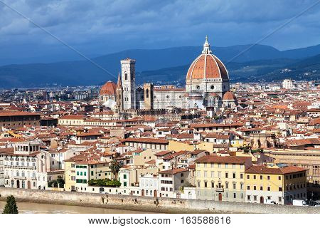 Skyline Of Florence City With Duomo