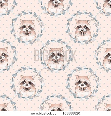Raccoon and floral wreath. Watercolor seamless pattern 2