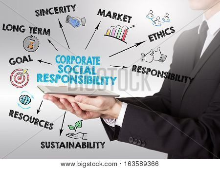 Corporate Social Responsibility Concept, young man holding a tablet computer.