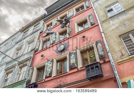 Lviv Ukraine - August 11 2016: Facade of restaurant House of Legends in Lviv