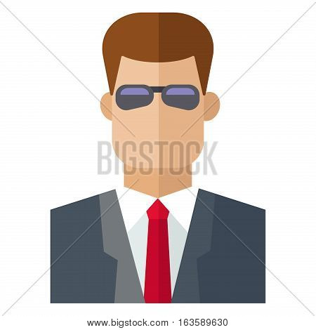 Male security guard standing over white background. Protection safety man. Vector uniform adult danger surveillance service character. Muscular staff power human.