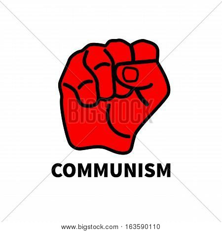 Red fist isolated on white background. Symbol of revolution socialism protest communism. Vector illustration