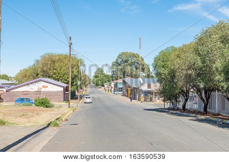 PETRUSBURG SOUTH AFRICA - DECEMBER 24 2016: A street scene in Petrusburg a small town in the Free State Province of South Africa