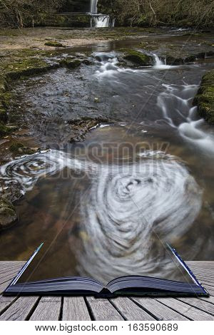 Beautiful Waterfall Landscape Image In Forest During Autumn Fall In Wales Uk Coming Out Of Pages Of