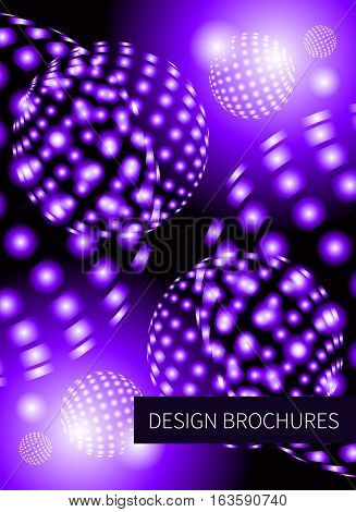 Abstract blue space background with glowing planets. Cover template booklet brochure flyer banner Vector illustration