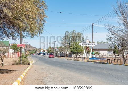 KOFFIEFONTEIN SOUTH AFRICA - DECEMBER 24 2016: A street scene in Koffiefontein (coffee fountain) a diamond mining town in the Free State Province