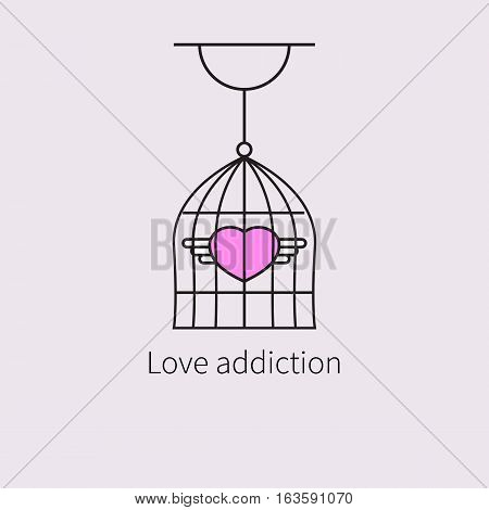 Pink heart with wings in cage. Symbol flat linear icon of love addiction. Vector illustration.