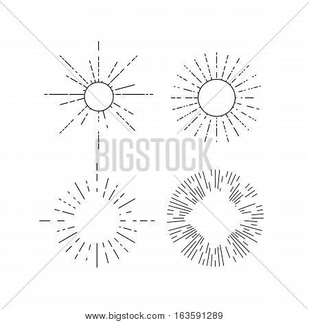 Retro outline starburst. Vintage radial design elements. Vector illustration.