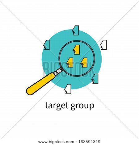 Target group audience. People under magnifying glass. Concept selection team. Vector illustration.