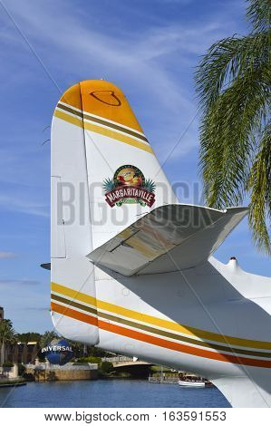 Universal Studios Resort Orlando Florida USA - October 24 2016: Margaritaville Hemisphere Dancer seaplane tailplane