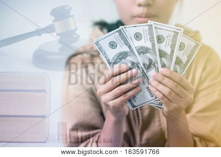Educational Opportunities Concept, Asian Young Girl With Dollar Bills, Education Law In The Universi
