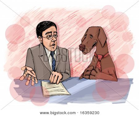 illustration of Interview With Dog On Television poster