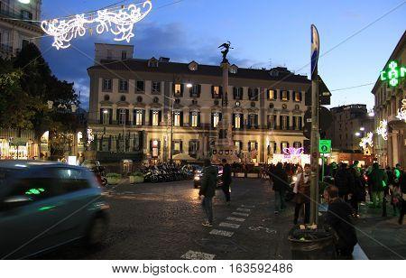 NAPLES ITALY - DECEMBER 27 2016: Piazza dei Martiri square at night during the festive season