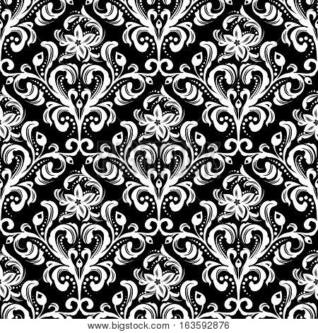 White seamless damask wallpaper pattern on black background