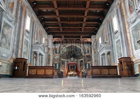 ROME ITALY - JUNE 6 2016: wood ceiling inside the romanesque San Vitale Church in via Nazionale