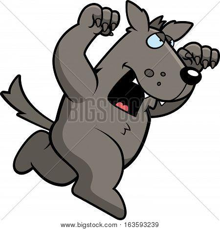 Cartoon Wolf Attacking