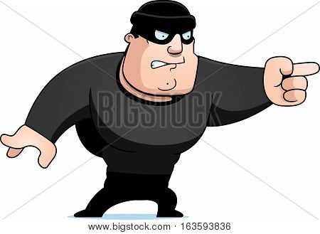 A cartoon illustration of a burglar angry and pointing.