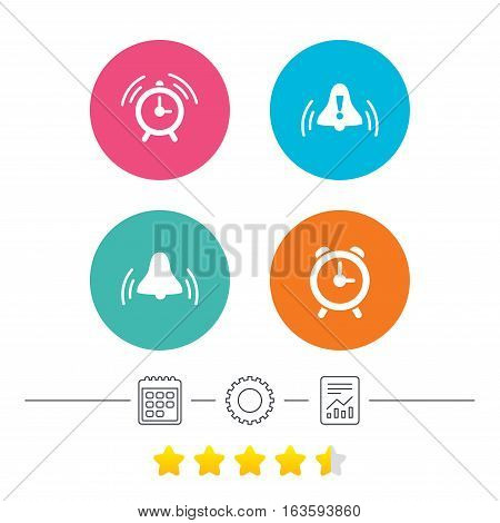 Alarm clock icons. Wake up bell signs symbols. Exclamation mark. Calendar, cogwheel and report linear icons. Star vote ranking. Vector