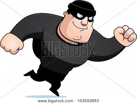 A cartoon illustration of a burglar running.