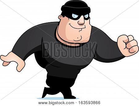 A cartoon illustration of a burglar walking.