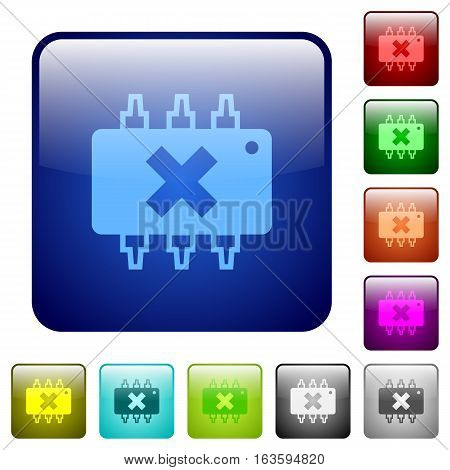 Hardware failure icons in rounded square color glossy button set