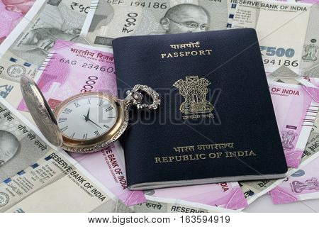 Indian Passport New Rupee Currency and Antique Watch