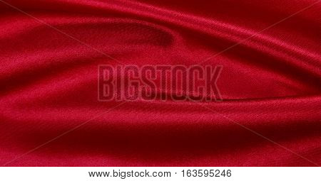 Smooth Elegant Red Silk Or Satin Luxury Cloth Texture As Abstract Background. Luxurious Valentines D