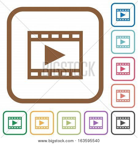 Play movie simple icons in color rounded square frames on white background