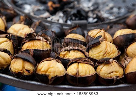 Grilled chestnuts, which is famous in Turkey