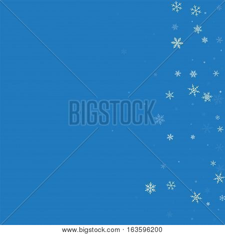 Sparse Snowfall. Scatter Right Gradient On Blue Background. Vector Illustration.