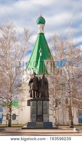 Monument to Prince George Vsevolodovich and St Simon of Suzdal in Nizhny Novgorod Kremlin near Archangel Michael Cathedral, founded by Grand Duke in 1221. Sculptor Purihov. Russia, Nizhny Novgorod. April 22, 2013