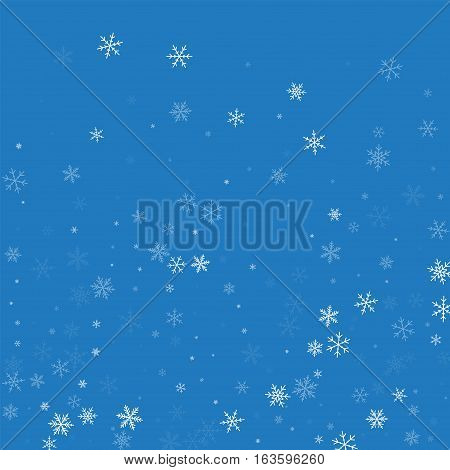 Sparse Snowfall. Bottom Gradient On Blue Background. Vector Illustration.
