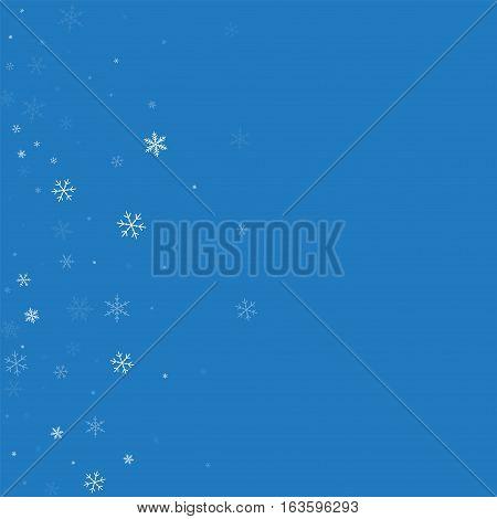 Sparse Snowfall. Scatter Left Gradient On Blue Background. Vector Illustration.