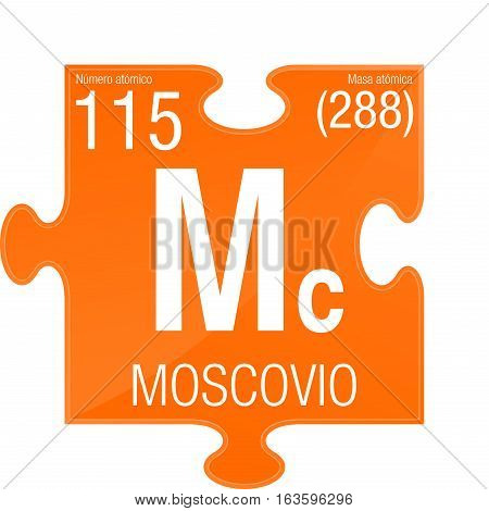 Moscovio symbol - Moscovium in Spanish language - Element number 115 of the Periodic Table of the Elements - Chemistry -  Puzzle piece with orange background