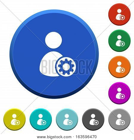 User account settings round color beveled buttons with smooth surfaces and flat white icons