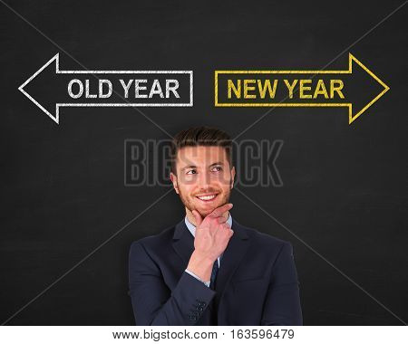 Writing Old Year or New Year over Human Head