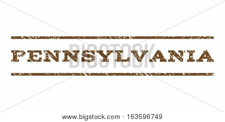 Pennsylvania watermark stamp. Text caption between horizontal parallel lines with grunge design style. Rubber seal stamp with dust texture. Vector brown color ink imprint on a white background.