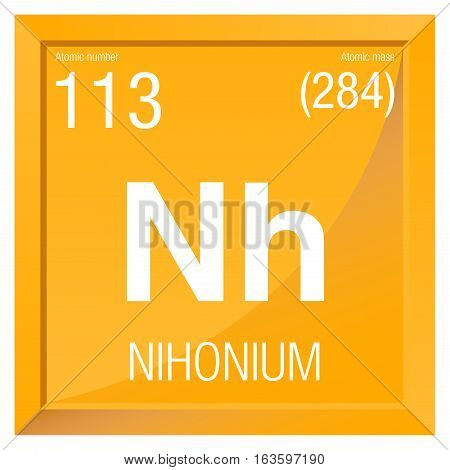 Nihonium symbol. Element number 113 of the Periodic Table of the Elements - Chemistry -  Square frame with yellow background