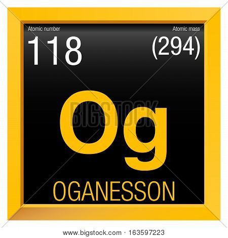 Oganesson symbol. Element number 118 of the Periodic Table of the Elements - Chemistry - Yellow square frame with black background