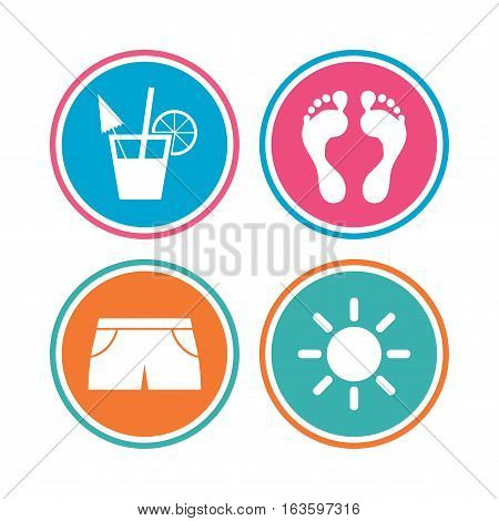 Beach holidays icons. Cocktail, human footprints and swimming trunks signs. Summer sun symbol. Colored circle buttons. Vector
