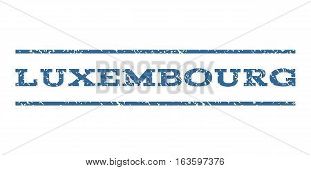 Luxembourg watermark stamp. Text caption between horizontal parallel lines with grunge design style. Rubber seal stamp with dirty texture. Vector cobalt color ink imprint on a white background.