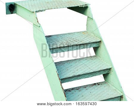 the step metal ladder on white background
