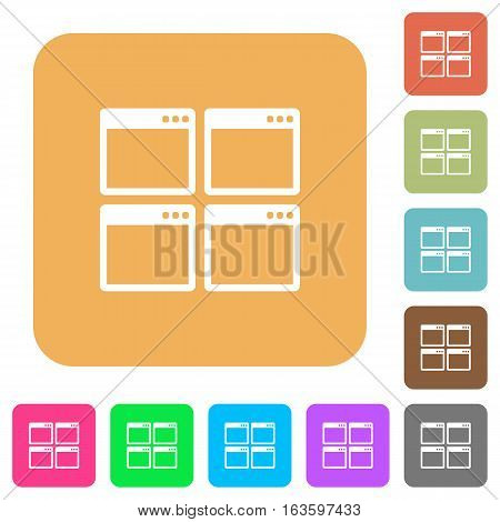 Mosaic window view mode icons on rounded square vivid color backgrounds.