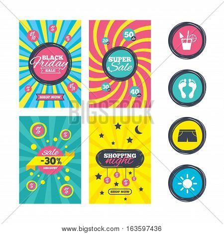 Sale website banner templates. Beach holidays icons. Cocktail, human footprints and swimming trunks signs. Summer sun symbol. Ads promotional material. Vector