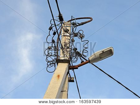 electric poles and electric wire with blue sky