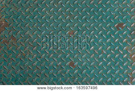 Green Metal anti slip metal floor pattern and texture.